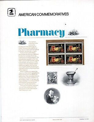 1473  Pharmacy, Commemorative Panel by the USPS issued 11/10/1972