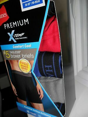 HANES PREMIUM X-TEMP MEN'S BOXER BRIEFS / UNDERWEAR 5 PACK TAGLESS Sz L (36-38)