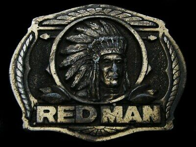 Kl19130 Cool Vintage 1988 ****Red Man Chewing Tobacco**** Brasstone Belt Buckle