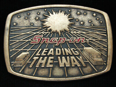 PA09132 VINTAGE 1970s *SNAP-ON LEADING THE WAY* TOOLS COMPANY SOLID BRASS BUCKLE