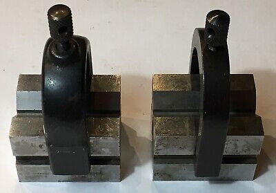 Starrett No. 278 Set Of Matched V-Blocks As Pictured Used W/ Clamps As Pictured