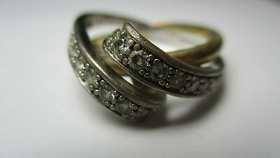 Sterling Silver 925 Epiphany 2 Tone Cubic Zirconia Crossover Band Ring Size 9.5