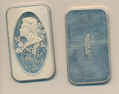 Silver Art Bar - 1 Oz. .999 - 1974 Mother's Day - #a
