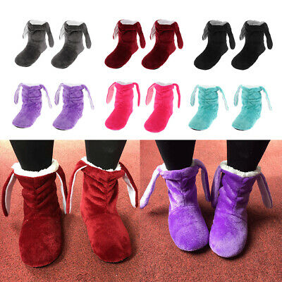 Womens Slippers Ankle Fleece Fur Warm Lined House Shoes Winter Booties