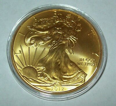 2012 24K Gold Gilded American Silver Eagle 1 Troy Oz. .999 Fine One Dollar Coin