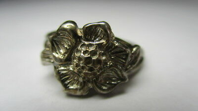 Sterling Silver 925 Estate Petite Girls Sunflower Flower Vintage Ring Size 4.5