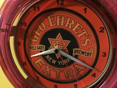 Ehret's Hell Gate New York Beer Bar Advertising Man Cave Neon Wall Clock Sign
