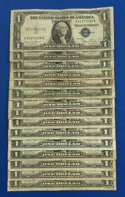 1935D-1957B $1 Blue SILVER Certificates  Set of 15 Assorted! Rough Currency