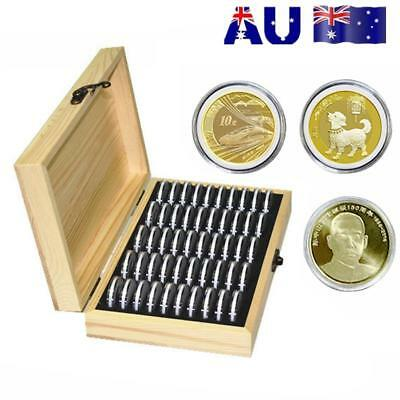 50 Grid Wooden Round Case Coin Capsule Storage Holder Box Display Container AU!