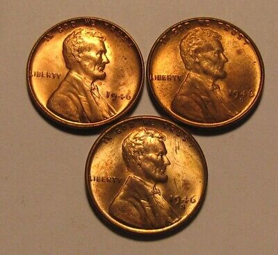 1946 1946 D 1946 S Lincoln Cent Penny - Mixed BU Condition - 36SA