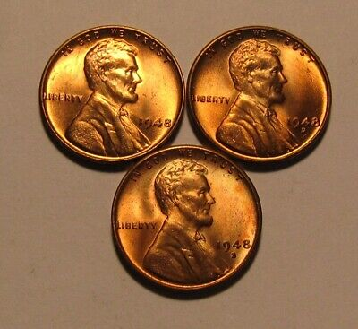 1948 1948 D 1948 S Lincoln Cent Penny - BU Condition - 38SA