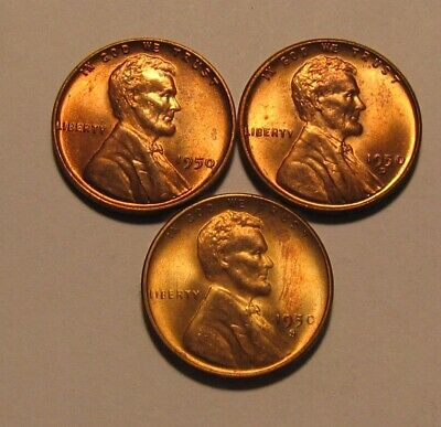 1950 1950 D 1950 S Lincoln Cent Penny - Mixed BU Condition - 40SA