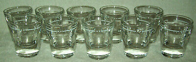 Lot of 10 Vintage Thick Heavy Shot Glasses White Measuring Line Libbey