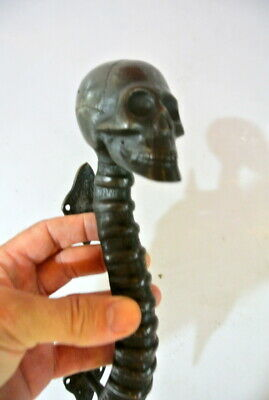 medium SKULL handle DOOR PULL spine solid brass old vintage aged DARK  28cm B