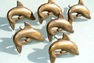 6 ANTIQUE style small DOLPHIN Cabinet Door solid Brass KNOB Drawer Pull 5 cm B