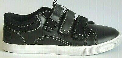 Junior Boys Childrens Kids Timberland Black Leather strap Casual Trainers Shoes