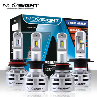 NOVSIGHT 10000LM H4 H7 H11 9005 9006 Car LED Headlight Bulbs Lamp White 6500K