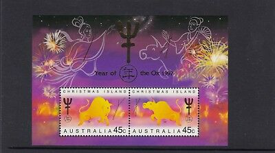 CHRISTMAS IS  1997  Year of the OX  MINISHEET  MNH