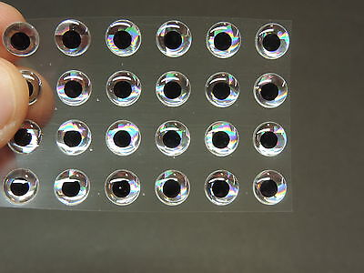 """18 Holographic SILVER 3D Soft Molded 10mm .3937/"""" Adhesive Eyes Fly Tying Lures"""