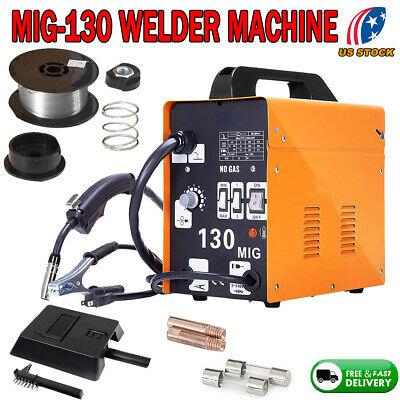 MIG 130 Welder Gas Less Flux Core Wire Automatic Feed Welding Machine W/ Mas