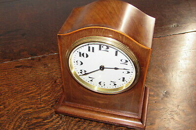 Edwardian mahogany inlaid Swiss mantle bracket clock