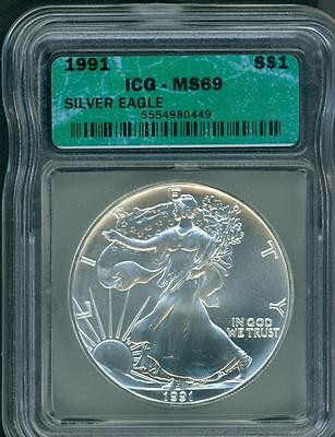 1991 American Silver Eagle ASE S$1 ICG MS69 MS-69 BEAUTIFUL Premium Quality P.Q.