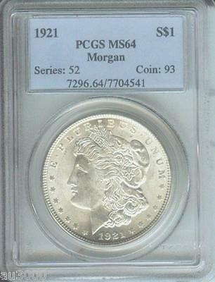 1921 ( 1921-P ) MORGAN SILVER DOLLAR S$1 PCGS MS64 MS-64 Near GEM !