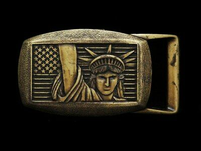 JG09135 COOL 1970s **UNITED STATES - STATUE OF LIBERTY** BRASSTONE BELT BUCKLE