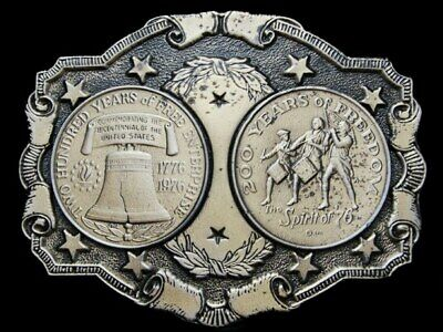 La10106 *Nos* Great Vintage 1976 ***200 Years Of Freedom*** Belt Buckle