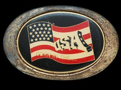 KD25130 VINTAGE 1970s **BORN IN THE USA** (AMERICAN FLAG) BELT BUCKLE