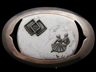 IB19113 OVAL VINTAGE 1970s ***SQUARE DANCING COUPLE*** WESTERN SILVERTONE BUCKLE