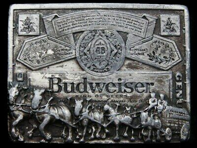 KD19168 GREAT 1970s ***BUDWEISER*** KING OF BEERS CLYDESDALE HORSES BELT BUCKLE