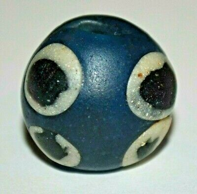 Ancient Blue Glass Excavated Islamic Cane Eye Bead Found In Mali, African Trade