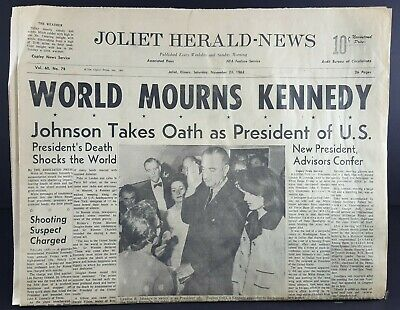 NOV 23 1963 JFK Assassination Newspaper Joliet Herald News, 14 Pgs, TV Week