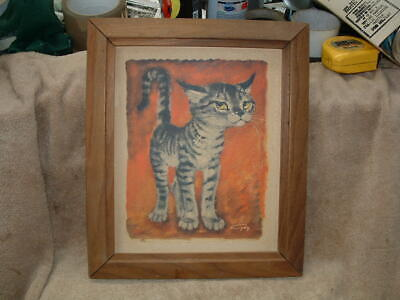 Framed Retro 60'S Cat Picture