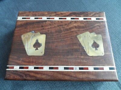 Wooden Brass Inlaid & Braided Design Double Playing Card Box + 2 New Card Decks