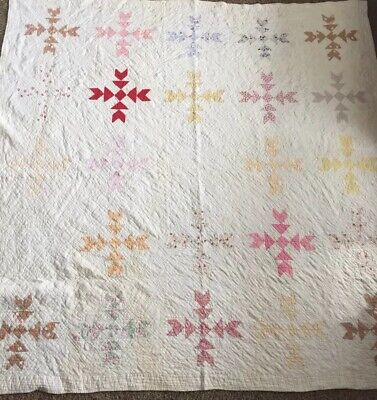 Antique Vtg Handmade Quilt Feedsack Patchwork Sawtooth Hand quilted 1800s 80""