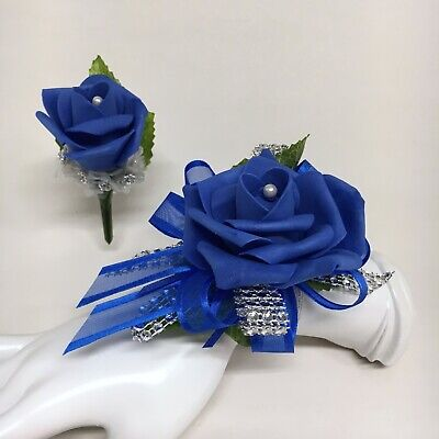 Royal Blue Rose  with Silver Trim Wrist Corsage & Boutonniere Combo