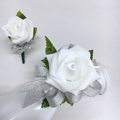 White Rose on Silver  Wrist Corsage & Boutonniere Combo