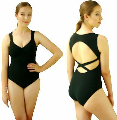 Ladies Black Crossback Open Back Ballet Dance Leotard - S M L 6 8 10 12 14