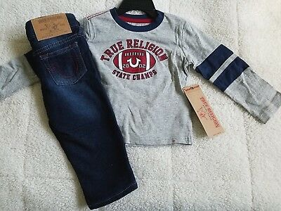 69a1cf63 True Religion Nwt Athletic L S Football Tee Jeans 2 Pc Set