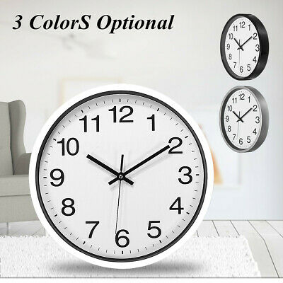 30CM 12'' Silent Sweep Non-Ticking Wall Clock Black/ White Office Home
