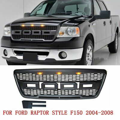 Black Front Mesh Grille Raptor Style with 3 Amber LED w/FR For Ford F150 2004-08