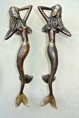 "2 skinny 34cm MERMAID door handle 13"" solid brass door PULL aged bronze patina B"