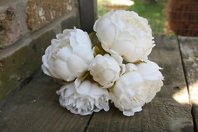 5 x VINTAGE IVORY  SILK PEONY FLOWERS & BUDS TIED BUNCH / SMALL BOUQUET
