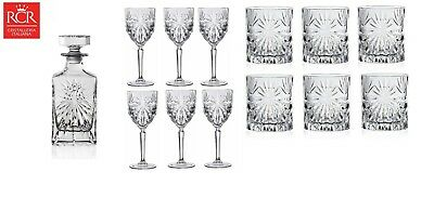 RCR Oasis Crystal Glassware Decanter, Whisky Tumblers & Wine Glass Set