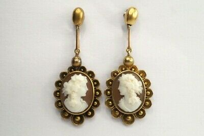 LOVELY ANTIQUE VICTORIAN ETRUSCAN 15K GOLD CARVED SHELL CAMEO EARRINGS c1870