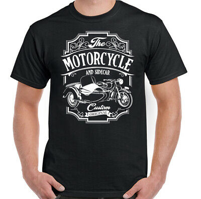 Motorcycle & Sidecar Mens Funny Biker T-Shirt 3 Wheels Motorbike Bike Indian Top