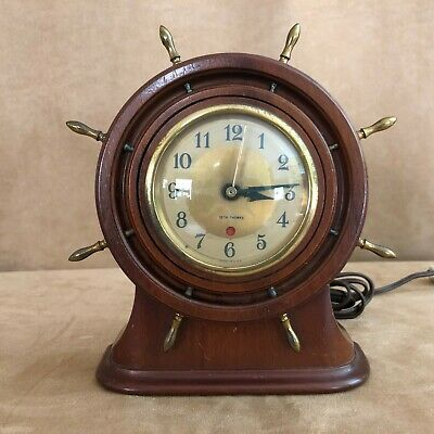 Vintage Seth Thomas WORKING Wooden Ship Wheel Clock electric Nautical