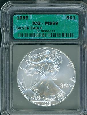 1999 American Silver Eagle ASE S$1 ICG MS69 MS-69 PQ+